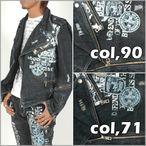 男性用/ジャケット>メンズ/アウター/ライト>BERNINGS-SHOラメ糸使いダメージ加工ライダースジャケット「61」(ウォッシュタンニンブルー ウォッシュブラック)