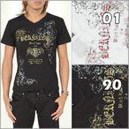 ◆SALESALE夏セール第ニ弾!!◆BERNINGS-SHO Black Labelラメ使いプリントVネックテレコ半袖Tシャツ「75」
