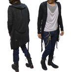 ロングニットカーディガン トグル仕様 薄手ロングパーカー  長袖細身  Parka メンズ ファッション サロン系 キレイめ スタイル mens カジュアル