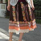●送料無料●チュニックしても楽しめるのがうれしいインド綿のエスニックフレアロングスカート◆w closet:サークルフラワーペチコート付ロングスカート