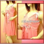 感謝セール キラキラ☆ジョーゼット ワンピース ドレス サテンのリボンがリッチロマドレス カシュクール 膝丈 結婚式パーティー二次会にも ・ピンク