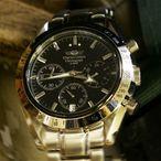 【正規品・激安90%OFF】人気ブランドメンズ腕時計 シャルルホーゲル。オシャレなクロノグラフ・ブラックフェイス。服装にこだわらないモテウォッチ