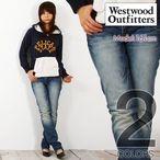 Westwood Outfittersウエストウッドアウトフィッターズ鍵チャーム付き5Pタイトストレートスラブデニムパンツジーンズレディース