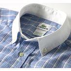 Lacoste[ラコステ]L/S Tartan Check Shirts w/White Collar[タータンチェック・クレリックタイプ・シャツ]メンズ・長袖シャツ ブルー