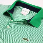 Lacoste Red [ラコステ・レッド] S/S Pique Fine Stripe Polo[ボーダー・ピケ・ポロ]半袖メンズ・ポロシャツ グリーン