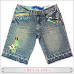 Hula Lani(フララニ) ホヌ刺繍 レディース デニム ショートパンツ